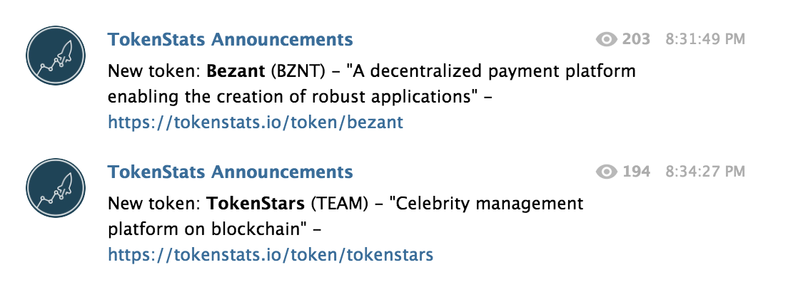 Tokenstats Announcements